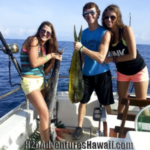 Ono (Wahoo) and Mahi Mahi (Dolphin Fish or Dorado) onboard The Seeker on the half day morning charter