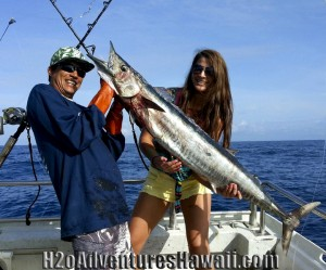 Beautiful Ono (Wahoo) on half day morning charter aboard The Seeker out of Haleiwa Harbor, North Shore Oahu, Hawaii