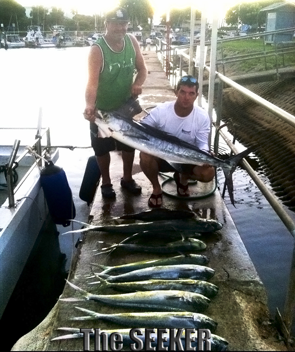 Nice spread of seafood with a Short Bill Marlin, Mahi Mahi aboard The Seeker