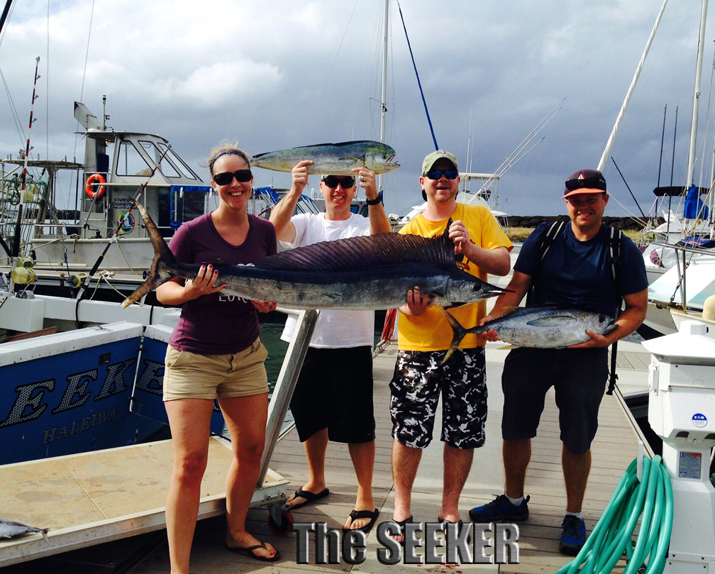 Seeker 2-28-15 Spearfish Mahi Mahi Tuna fishing charter chupu Oahu Hawaii
