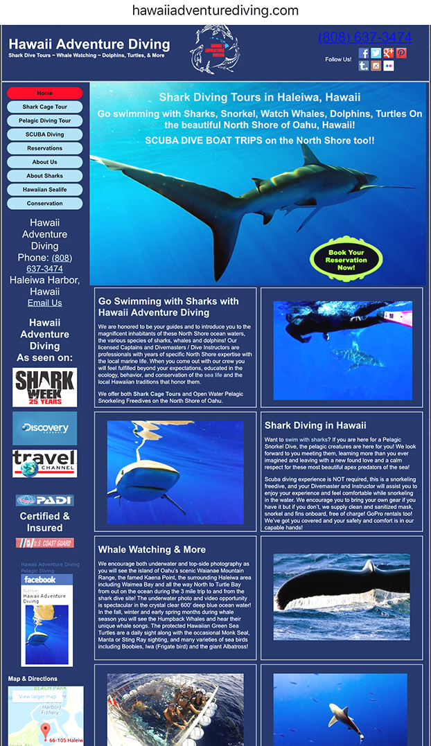 Hawaii Adventure Diving Website